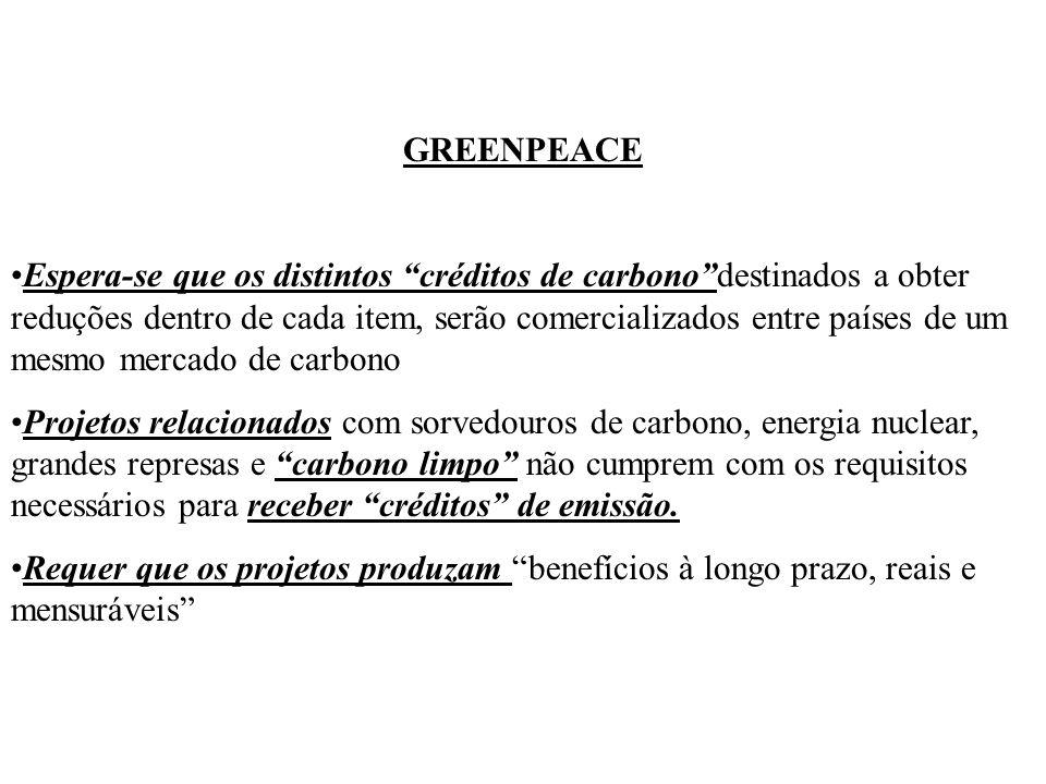 GREENPEACE Espera-se que os distintos créditos de carbonodestinados a obter reduções dentro de cada item, serão comercializados entre países de um mes