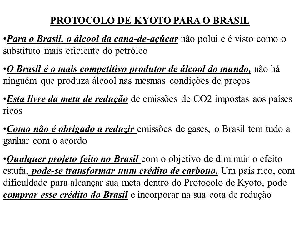 PROTOCOLO DE KYOTO PARA O BRASIL Para o Brasil, o álcool da cana-de-açúcar não polui e é visto como o substituto mais eficiente do petróleo O Brasil é o mais competitivo produtor de álcool do mundo, não há ninguém que produza álcool nas mesmas condições de preços Esta livre da meta de redução de emissões de CO2 impostas aos países ricos Como não é obrigado a reduzir emissões de gases, o Brasil tem tudo a ganhar com o acordo Qualquer projeto feito no Brasil com o objetivo de diminuir o efeito estufa, pode-se transformar num crédito de carbono.