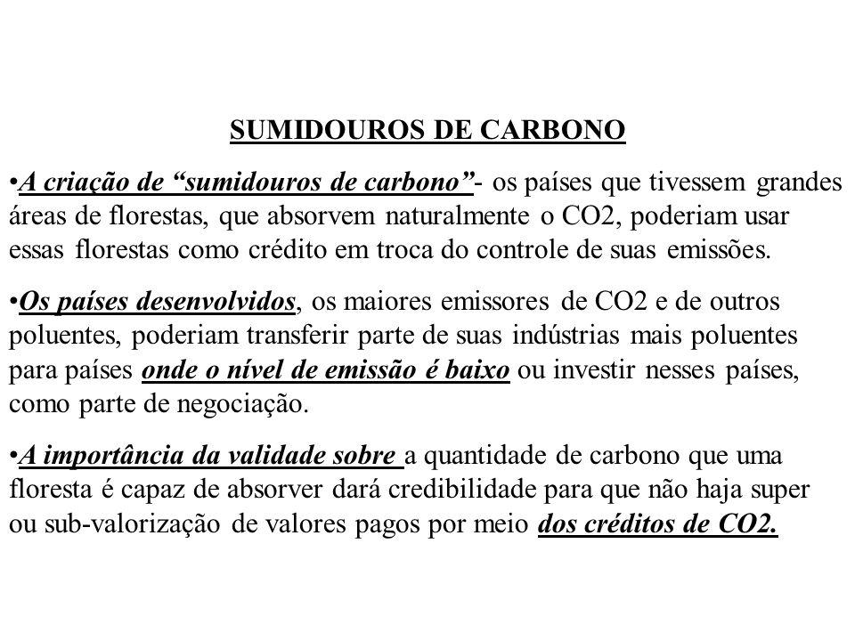 SUMIDOUROS DE CARBONO A criação de sumidouros de carbono- os países que tivessem grandes áreas de florestas, que absorvem naturalmente o CO2, poderiam usar essas florestas como crédito em troca do controle de suas emissões.