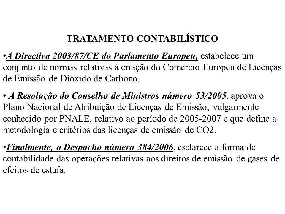 TRATAMENTO CONTABILÍSTICO A Directiva 2003/87/CE do Parlamento Europeu, estabelece um conjunto de normas relativas à criação do Comércio Europeu de Licenças de Emissão de Dióxido de Carbono.