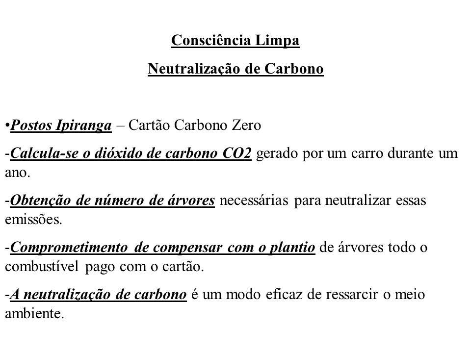 Consciência Limpa Neutralização de Carbono Postos Ipiranga – Cartão Carbono Zero -Calcula-se o dióxido de carbono CO2 gerado por um carro durante um a
