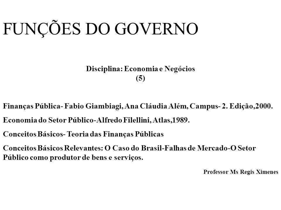 FUNÇÕES DO GOVERNO Disciplina: Economia e Negócios (5) Finanças Pública- Fabio Giambiagi, Ana Cláudia Além, Campus- 2.