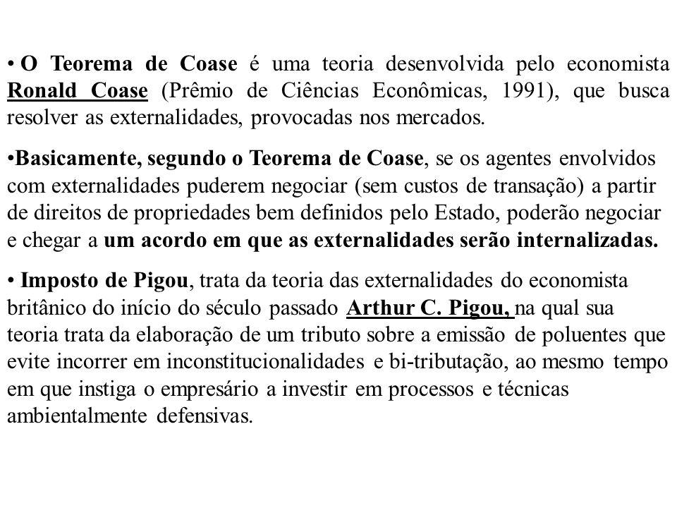 O Teorema de Coase é uma teoria desenvolvida pelo economista Ronald Coase (Prêmio de Ciências Econômicas, 1991), que busca resolver as externalidades, provocadas nos mercados.