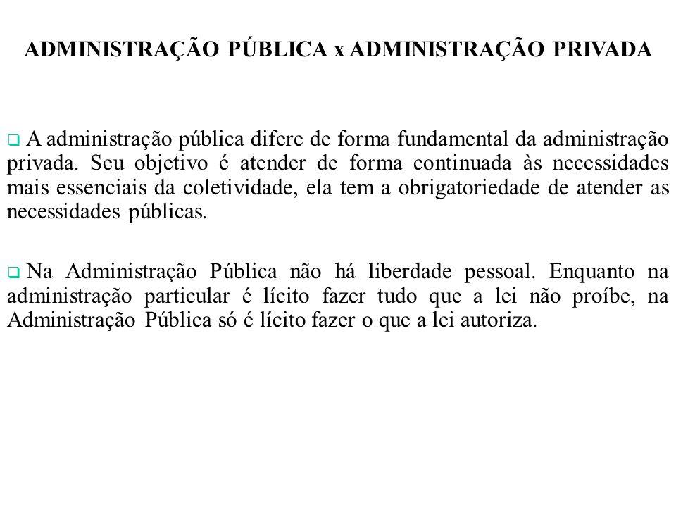ADMINISTRAÇÃO PÚBLICA x ADMINISTRAÇÃO PRIVADA A administração pública difere de forma fundamental da administração privada.