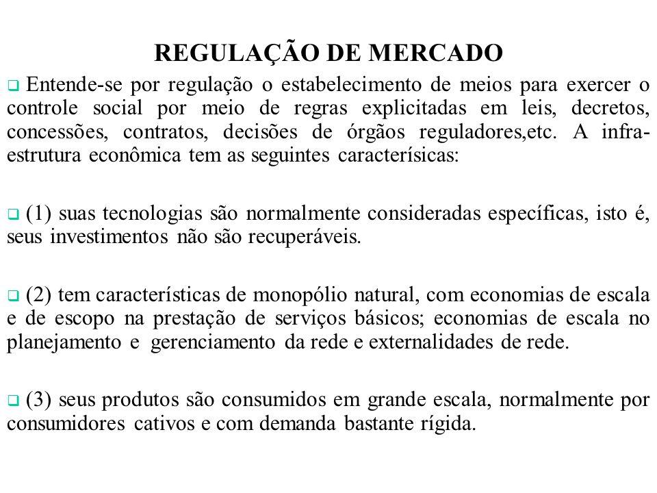 REGULAÇÃO DE MERCADO Entende-se por regulação o estabelecimento de meios para exercer o controle social por meio de regras explicitadas em leis, decretos, concessões, contratos, decisões de órgãos reguladores,etc.