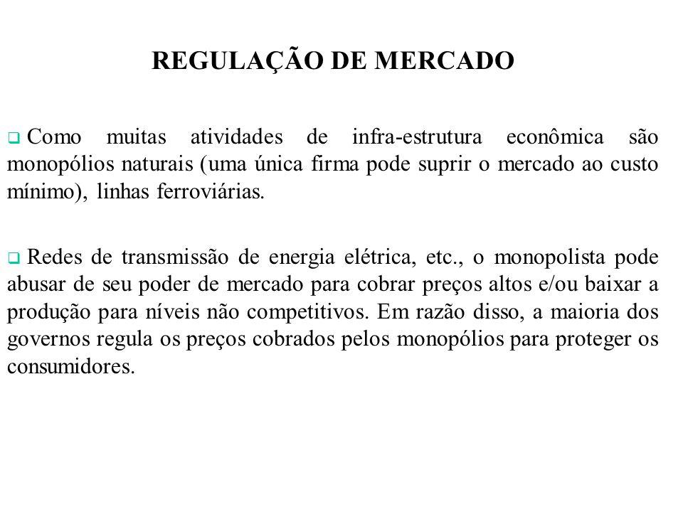 REGULAÇÃO DE MERCADO Como muitas atividades de infra-estrutura econômica são monopólios naturais (uma única firma pode suprir o mercado ao custo mínimo), linhas ferroviárias.