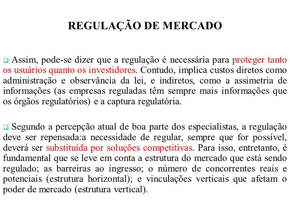 REGULAÇÃO DE MERCADO Assim, pode-se dizer que a regulação é necessária para proteger tanto os usuários quanto os investidores. Contudo, implica custos