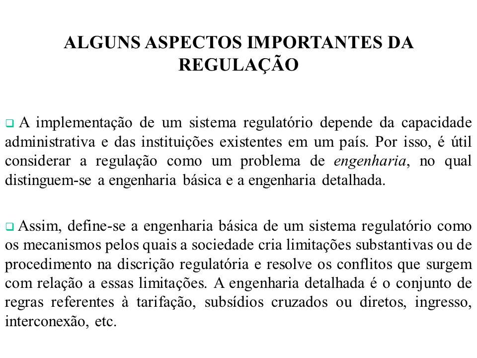 ALGUNS ASPECTOS IMPORTANTES DA REGULAÇÃO A implementação de um sistema regulatório depende da capacidade administrativa e das instituições existentes