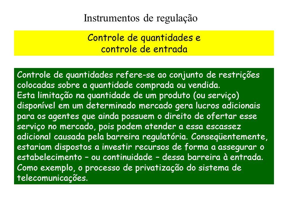 Instrumentos de regulação Controle de quantidades e controle de entrada Controle de quantidades refere-se ao conjunto de restrições colocadas sobre a quantidade comprada ou vendida.