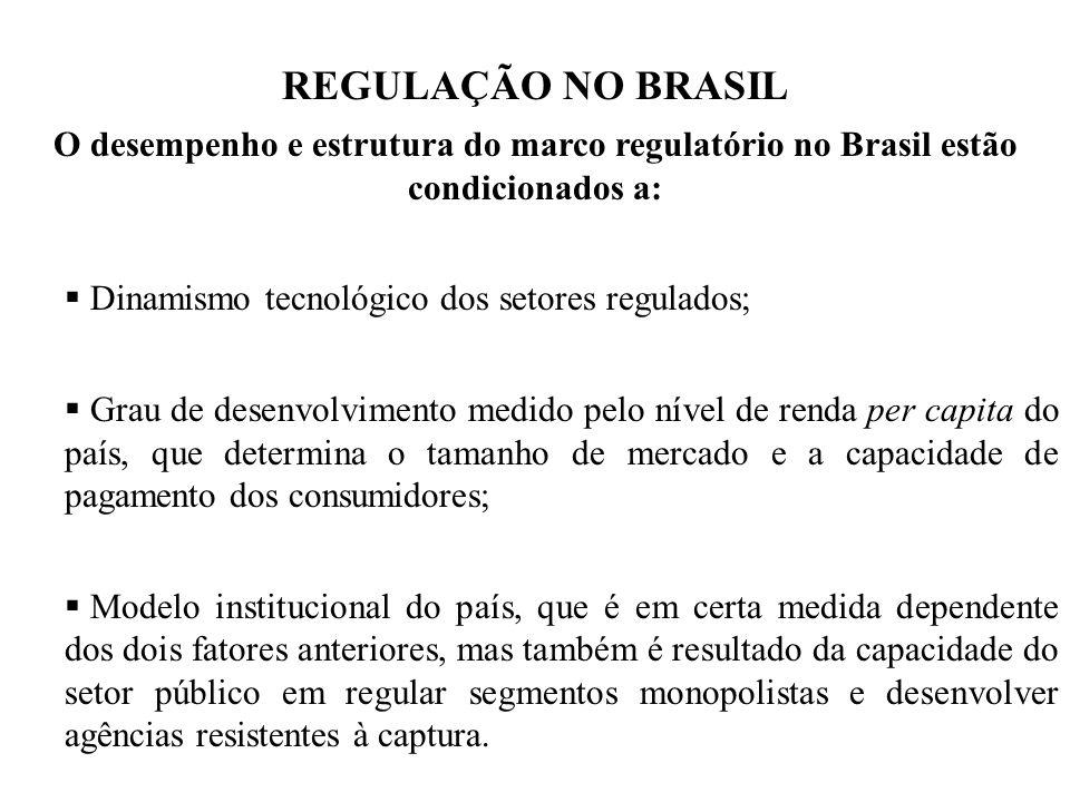 REGULAÇÃO NO BRASIL O desempenho e estrutura do marco regulatório no Brasil estão condicionados a: Dinamismo tecnológico dos setores regulados; Grau d