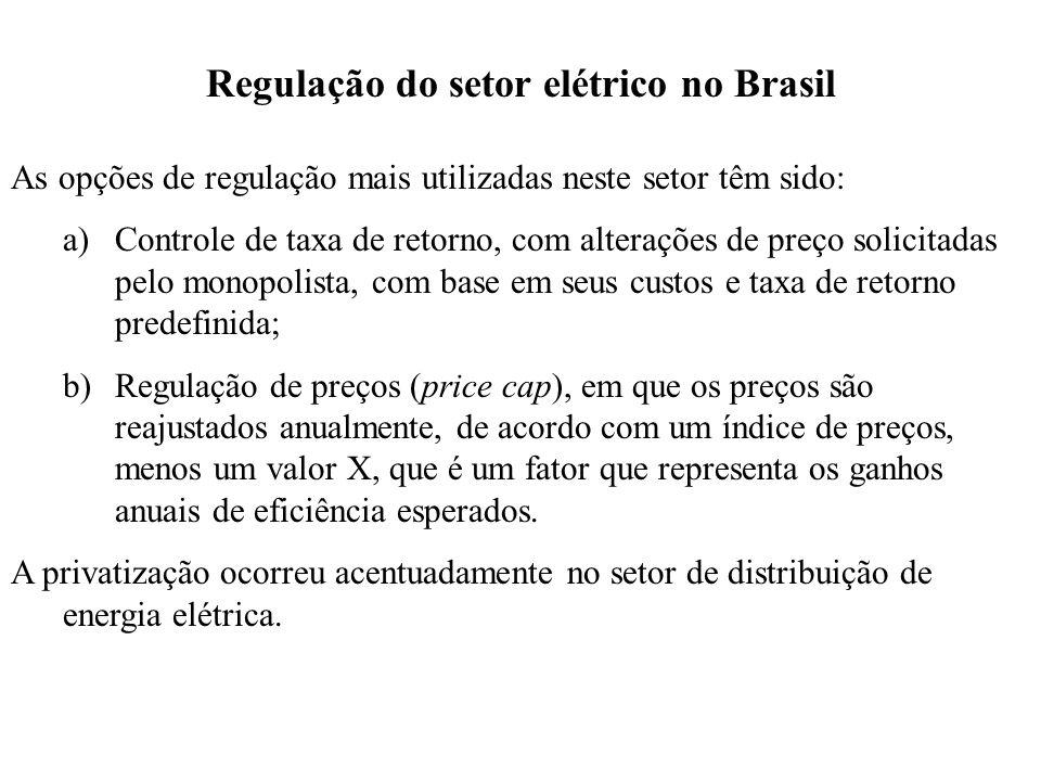 Regulação do setor elétrico no Brasil As opções de regulação mais utilizadas neste setor têm sido: a)Controle de taxa de retorno, com alterações de preço solicitadas pelo monopolista, com base em seus custos e taxa de retorno predefinida; b)Regulação de preços (price cap), em que os preços são reajustados anualmente, de acordo com um índice de preços, menos um valor X, que é um fator que representa os ganhos anuais de eficiência esperados.