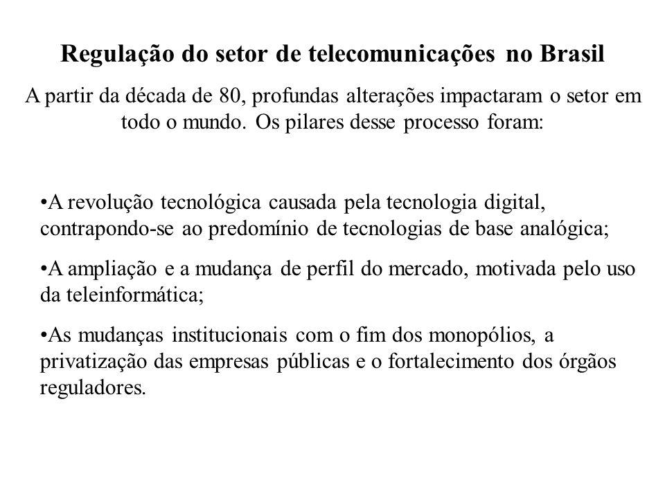 Regulação do setor de telecomunicações no Brasil A partir da década de 80, profundas alterações impactaram o setor em todo o mundo. Os pilares desse p