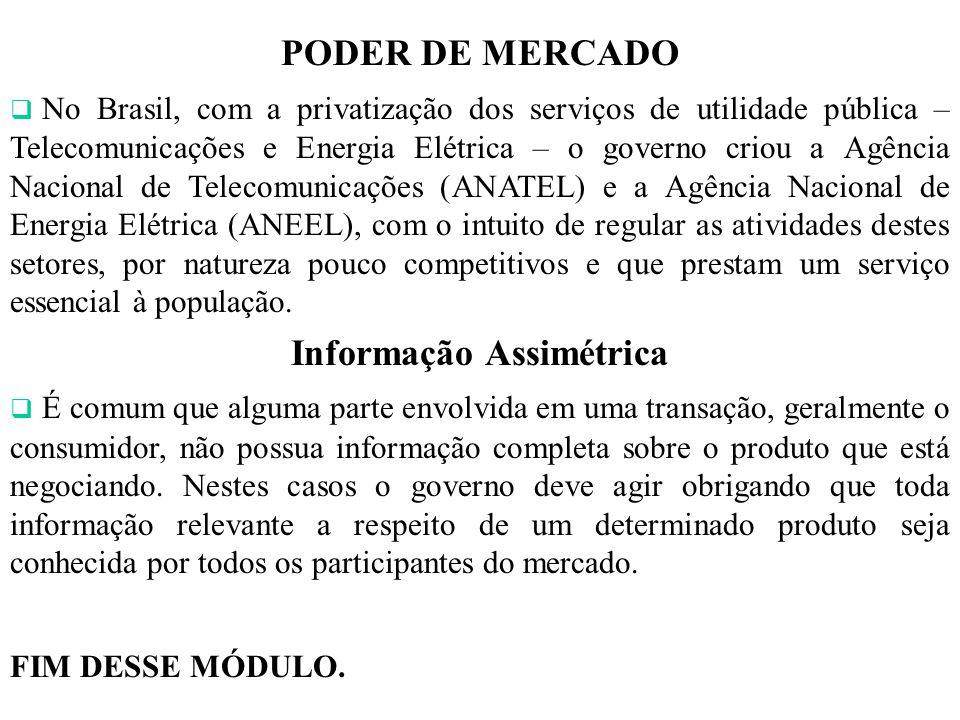 PODER DE MERCADO No Brasil, com a privatização dos serviços de utilidade pública – Telecomunicações e Energia Elétrica – o governo criou a Agência Nac