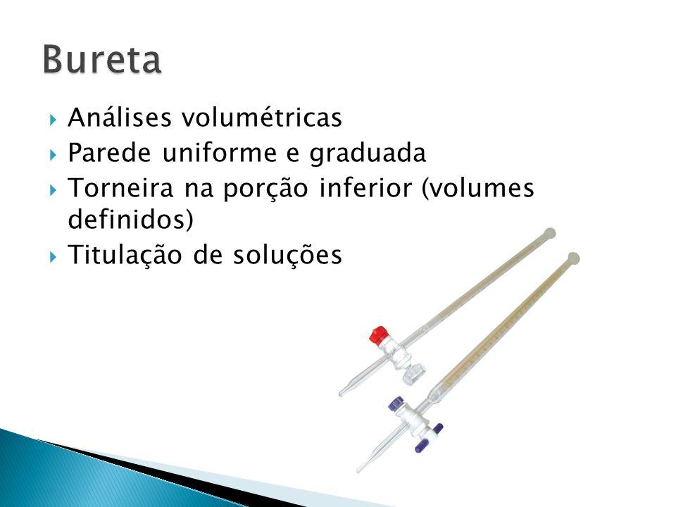 Análises volumétricas Parede uniforme e graduada Torneira na porção inferior (volumes definidos) Titulação de soluções