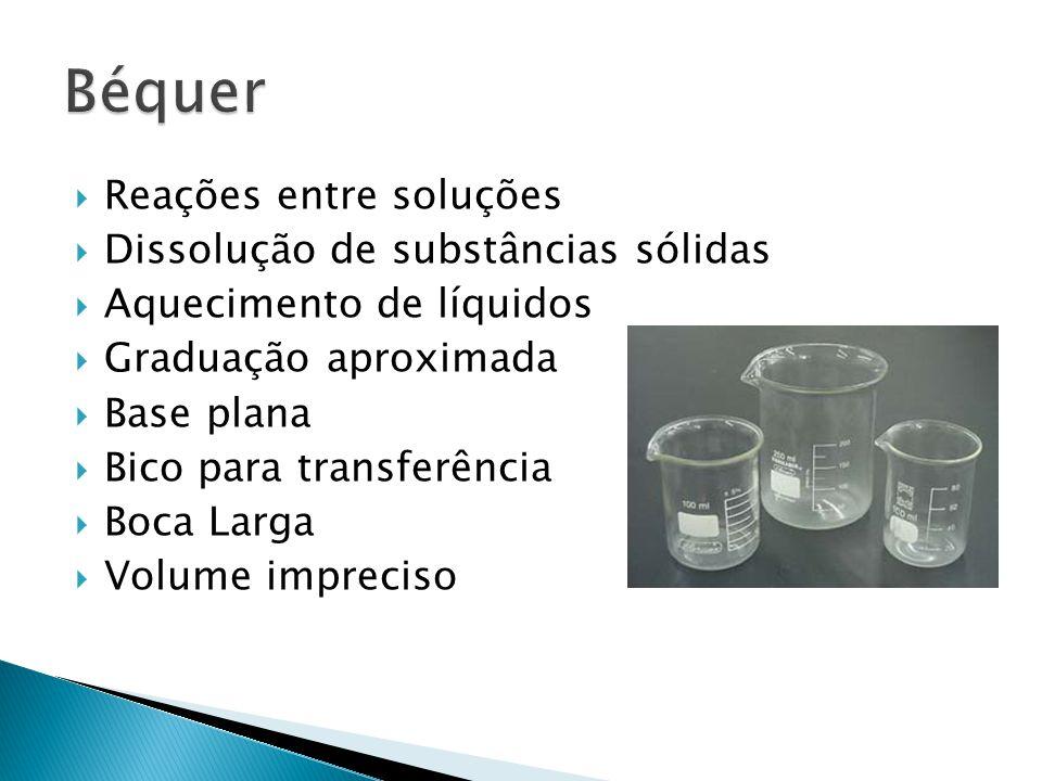 Reações entre soluções Dissolução de substâncias sólidas Aquecimento de líquidos Graduação aproximada Base plana Bico para transferência Boca Larga Volume impreciso