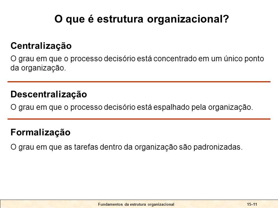 15–11 Centralização O grau em que o processo decisório está concentrado em um único ponto da organização.