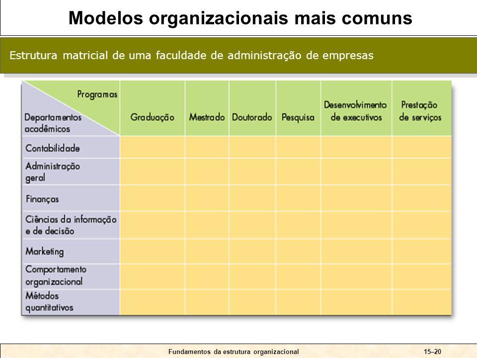 15–20 Estrutura matricial de uma faculdade de administração de empresas Fundamentos da estrutura organizacional Modelos organizacionais mais comuns