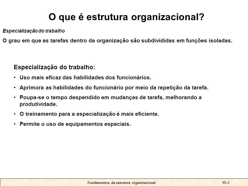 15–4 As seis questões básicas às quais os executivos devem responder ao planejar a estrutura organizacional apropriada Fundamentos da estrutura organizacional À pergunta-chave 1.Até que ponto as atividades podem ser subdivididas em tarefas separadas.