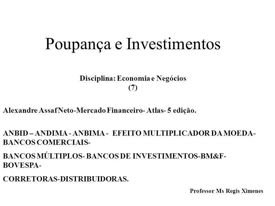 Poupança e Investimentos Disciplina: Economia e Negócios (7) Alexandre Assaf Neto-Mercado Financeiro- Atlas- 5 edição.