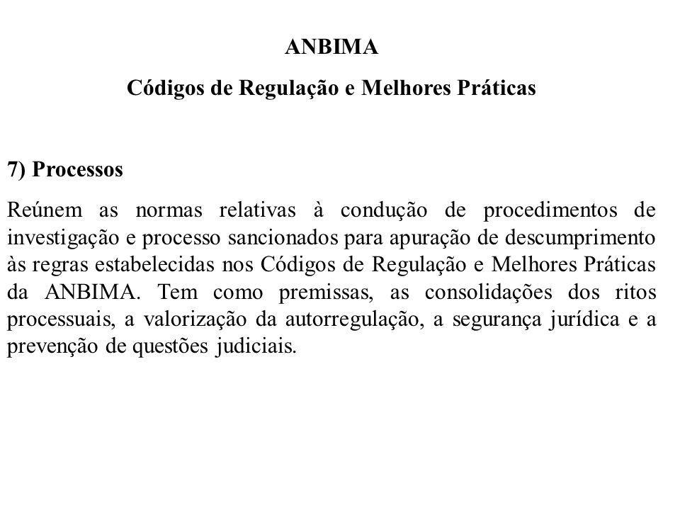 ANBIMA Códigos de Regulação e Melhores Práticas 7) Processos Reúnem as normas relativas à condução de procedimentos de investigação e processo sancionados para apuração de descumprimento às regras estabelecidas nos Códigos de Regulação e Melhores Práticas da ANBIMA.