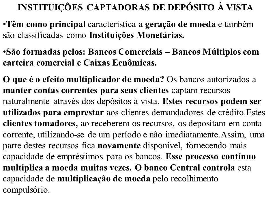 INSTITUIÇÕES CAPTADORAS DE DEPÓSITO À VISTA Têm como principal característica a geração de moeda e também são classificadas como Instituições Monetári
