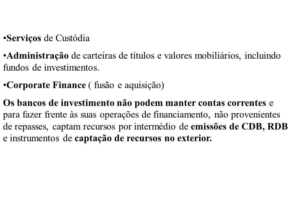 Serviços de Custódia Administração de carteiras de títulos e valores mobiliários, incluindo fundos de investimentos. Corporate Finance ( fusão e aquis
