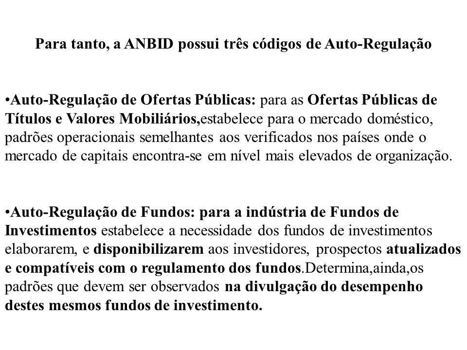 Para tanto, a ANBID possui três códigos de Auto-Regulação Auto-Regulação de Ofertas Públicas: para as Ofertas Públicas de Títulos e Valores Mobiliário