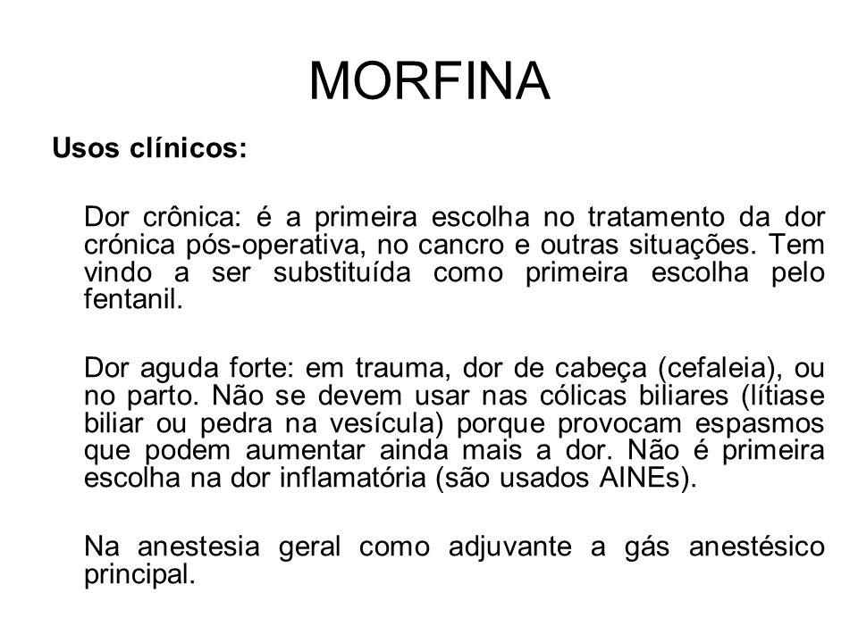 MORFINA Usos clínicos: Dor crônica: é a primeira escolha no tratamento da dor crónica pós-operativa, no cancro e outras situações.