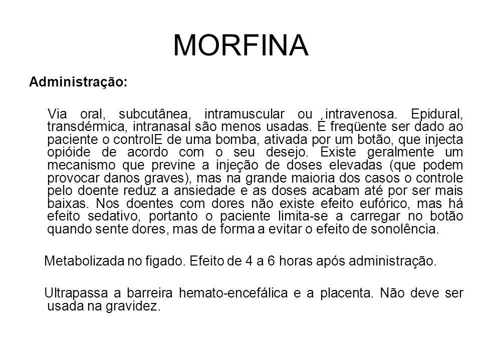 MORFINA Administração: Via oral, subcutânea, intramuscular ou intravenosa.
