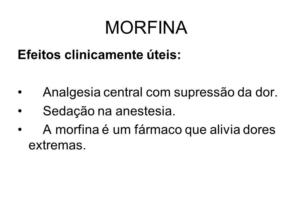 MORFINA Efeitos clinicamente úteis: Analgesia central com supressão da dor.