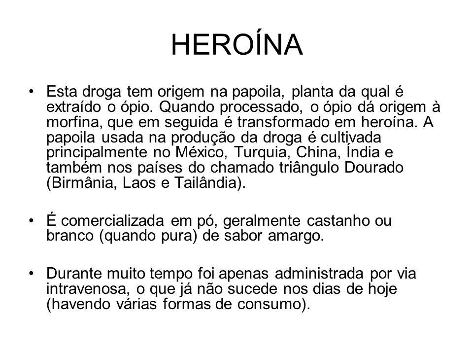 HEROÍNA Esta droga tem origem na papoila, planta da qual é extraído o ópio.