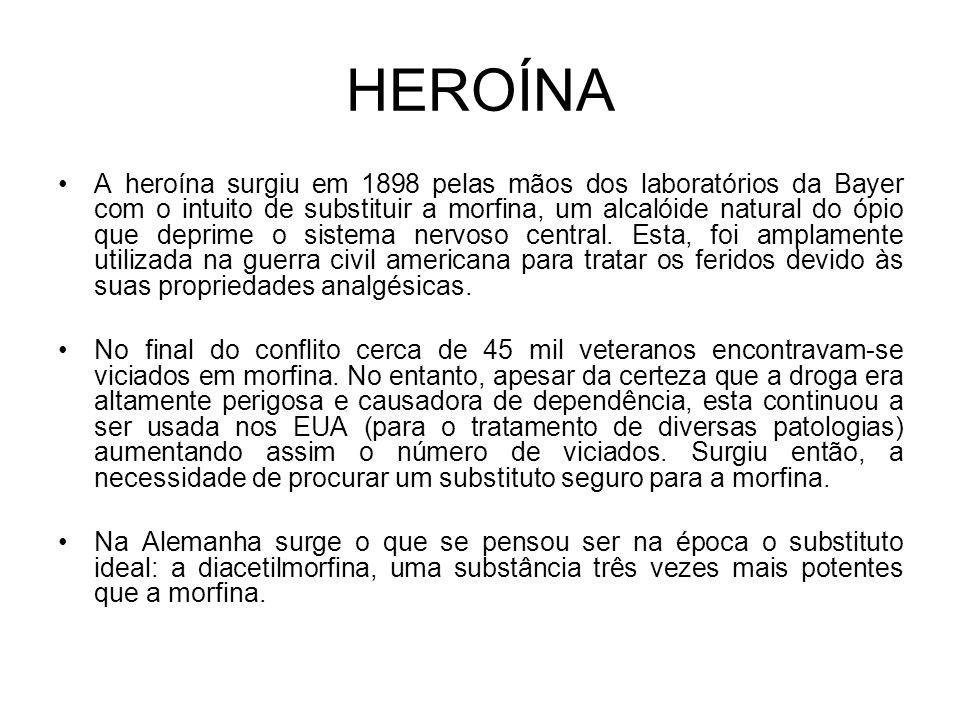 HEROÍNA A heroína surgiu em 1898 pelas mãos dos laboratórios da Bayer com o intuito de substituir a morfina, um alcalóide natural do ópio que deprime o sistema nervoso central.