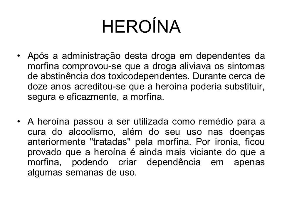 HEROÍNA Após a administração desta droga em dependentes da morfina comprovou-se que a droga aliviava os sintomas de abstinência dos toxicodependentes.