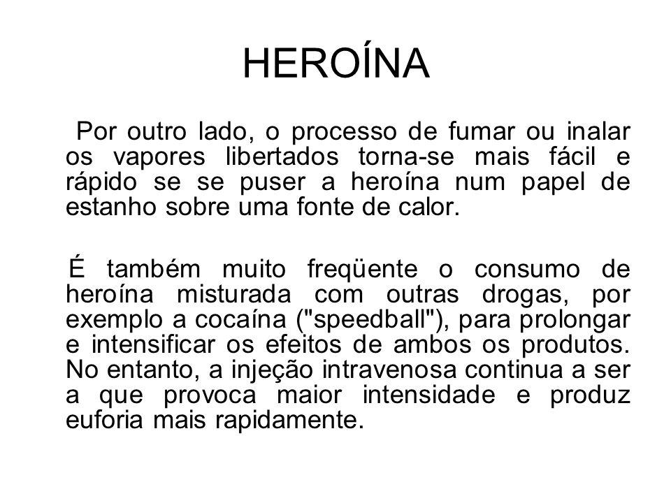 HEROÍNA Por outro lado, o processo de fumar ou inalar os vapores libertados torna-se mais fácil e rápido se se puser a heroína num papel de estanho sobre uma fonte de calor.