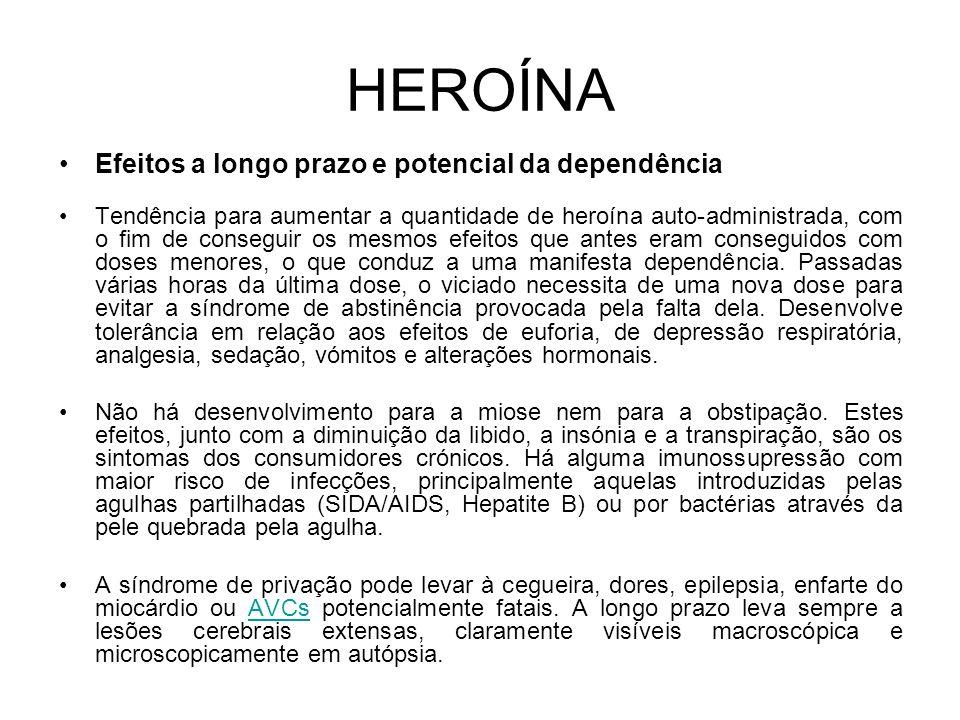 HEROÍNA Efeitos a longo prazo e potencial da dependência Tendência para aumentar a quantidade de heroína auto-administrada, com o fim de conseguir os mesmos efeitos que antes eram conseguidos com doses menores, o que conduz a uma manifesta dependência.