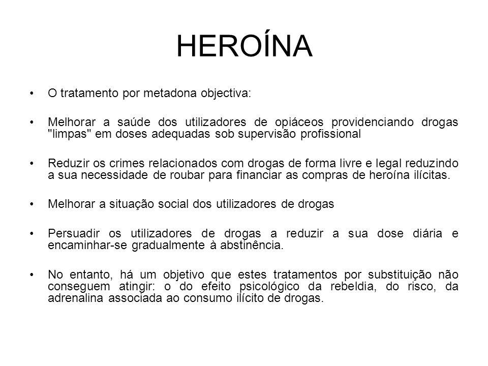 HEROÍNA O tratamento por metadona objectiva: Melhorar a saúde dos utilizadores de opiáceos providenciando drogas limpas em doses adequadas sob supervisão profissional Reduzir os crimes relacionados com drogas de forma livre e legal reduzindo a sua necessidade de roubar para financiar as compras de heroína ilícitas.