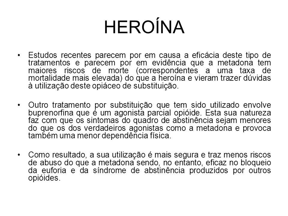 HEROÍNA Estudos recentes parecem por em causa a eficácia deste tipo de tratamentos e parecem por em evidência que a metadona tem maiores riscos de morte (correspondentes a uma taxa de mortalidade mais elevada) do que a heroína e vieram trazer dúvidas à utilização deste opiáceo de substituição.