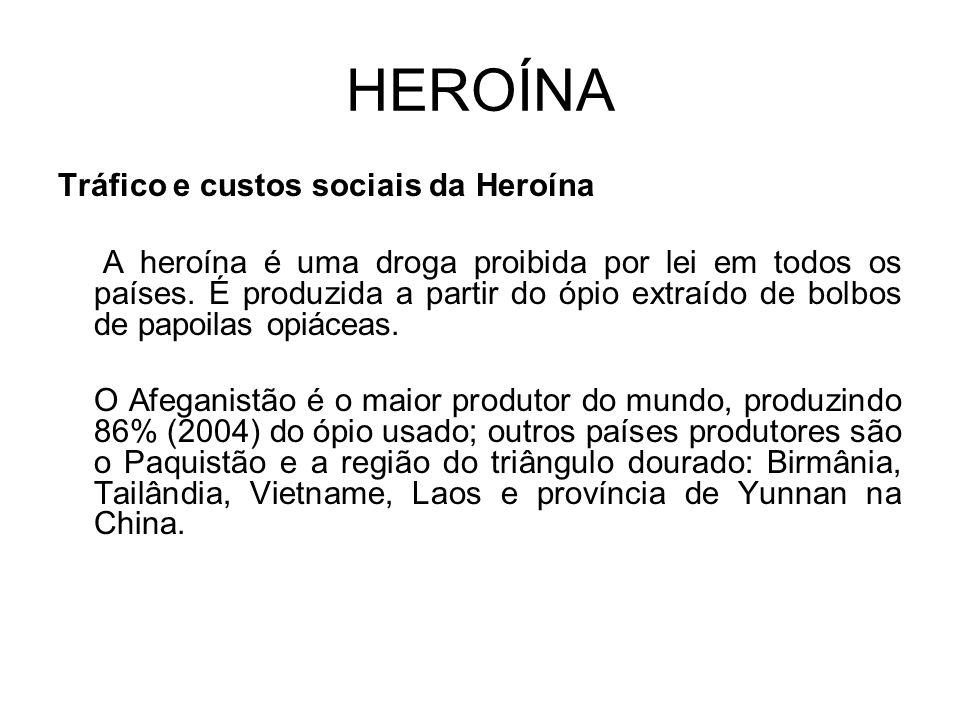 HEROÍNA Tráfico e custos sociais da Heroína A heroína é uma droga proibida por lei em todos os países.