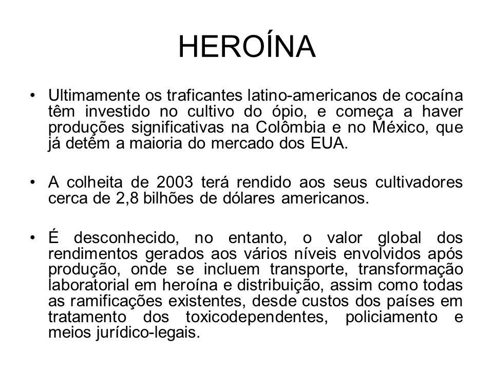 HEROÍNA Ultimamente os traficantes latino-americanos de cocaína têm investido no cultivo do ópio, e começa a haver produções significativas na Colômbia e no México, que já detêm a maioria do mercado dos EUA.
