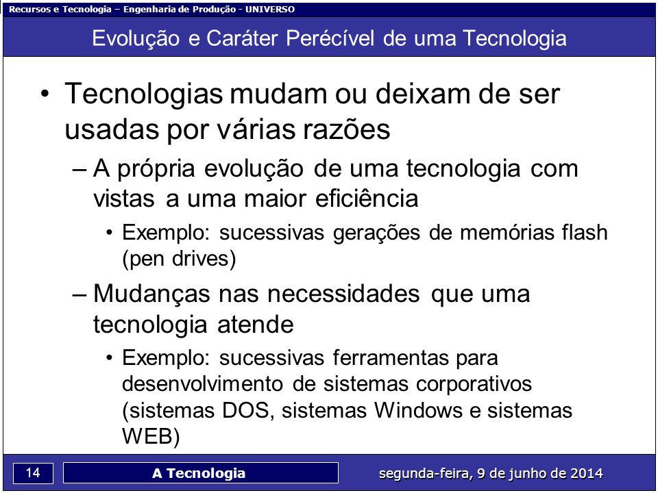 Recursos e Tecnologia – Engenharia de Produção - UNIVERSO 14 segunda-feira, 9 de junho de 2014 A Tecnologia Evolução e Caráter Perécível de uma Tecnol