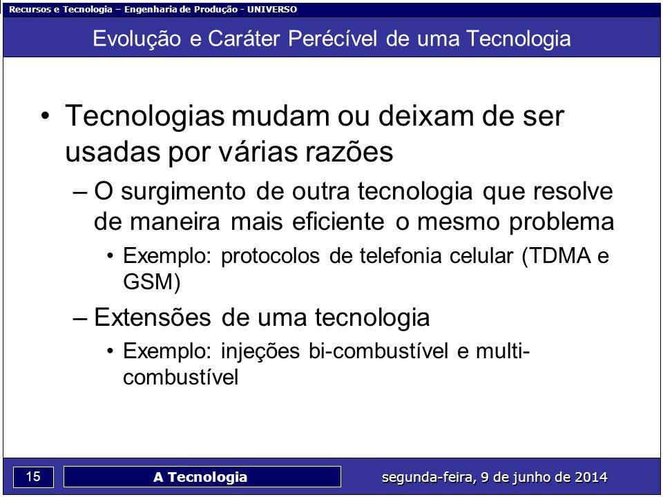 Recursos e Tecnologia – Engenharia de Produção - UNIVERSO 15 segunda-feira, 9 de junho de 2014 A Tecnologia Evolução e Caráter Perécível de uma Tecnol