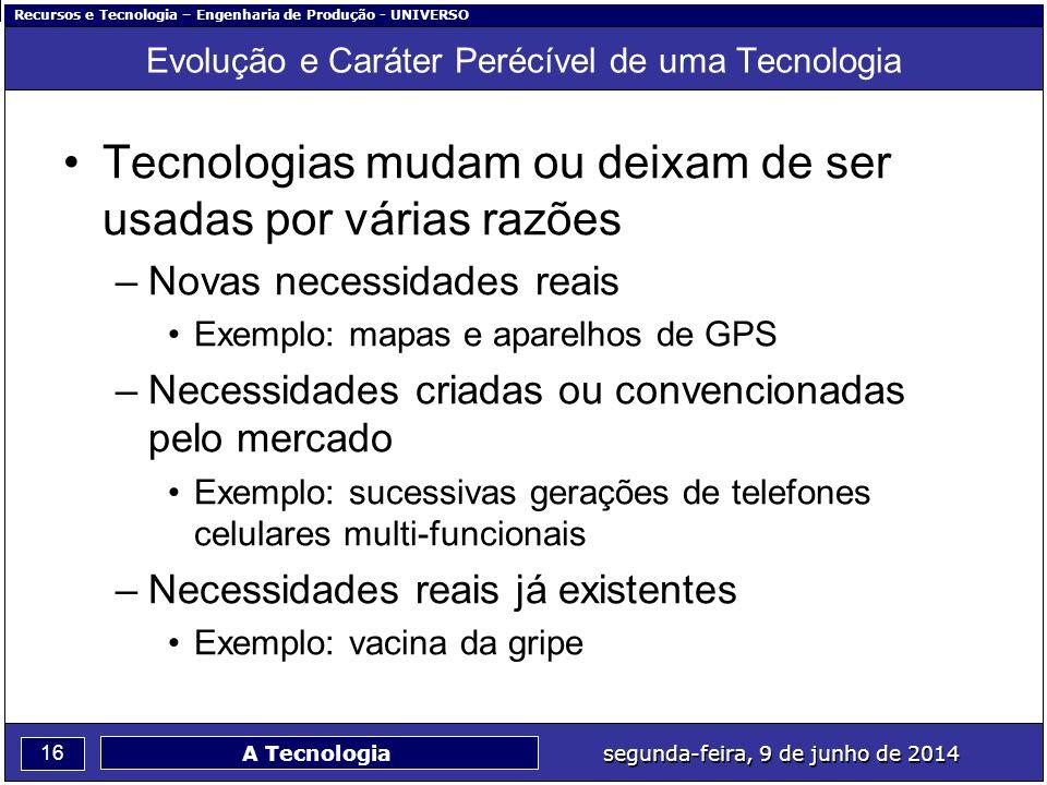 Recursos e Tecnologia – Engenharia de Produção - UNIVERSO 16 segunda-feira, 9 de junho de 2014 A Tecnologia Evolução e Caráter Perécível de uma Tecnol