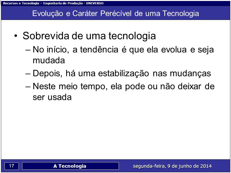 Recursos e Tecnologia – Engenharia de Produção - UNIVERSO 17 segunda-feira, 9 de junho de 2014 A Tecnologia Evolução e Caráter Perécível de uma Tecnol