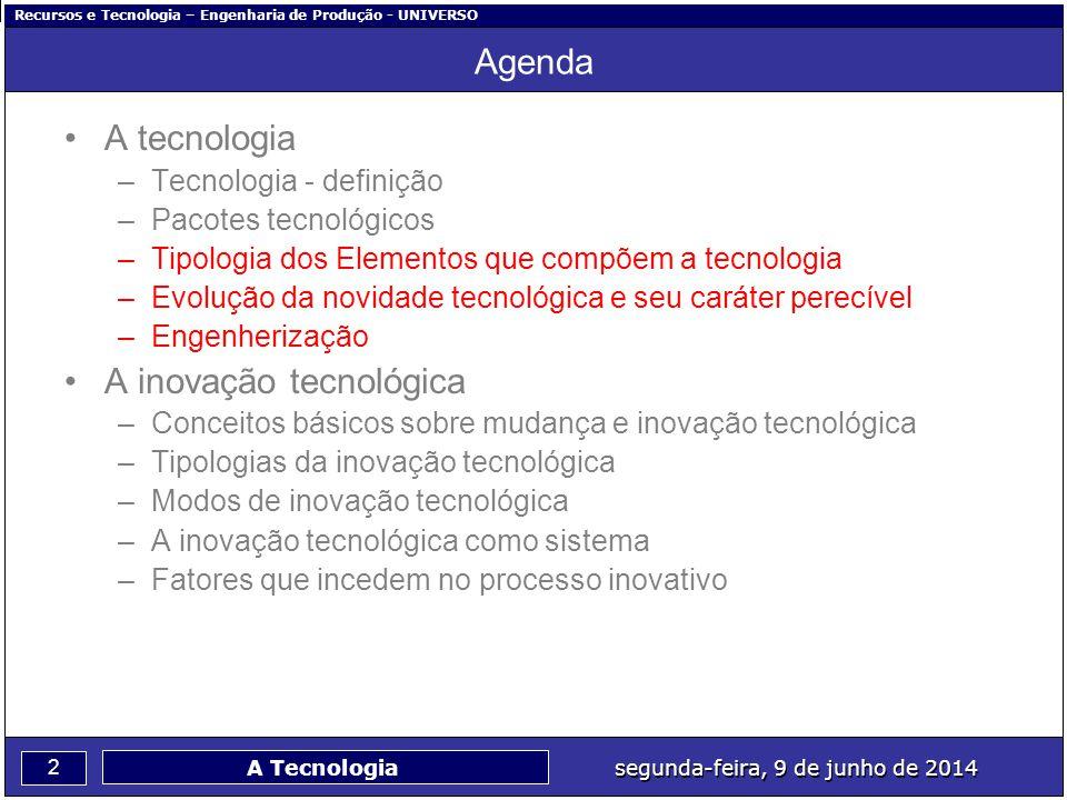 Recursos e Tecnologia – Engenharia de Produção - UNIVERSO 2 segunda-feira, 9 de junho de 2014 A Tecnologia Agenda A tecnologia –Tecnologia - definição