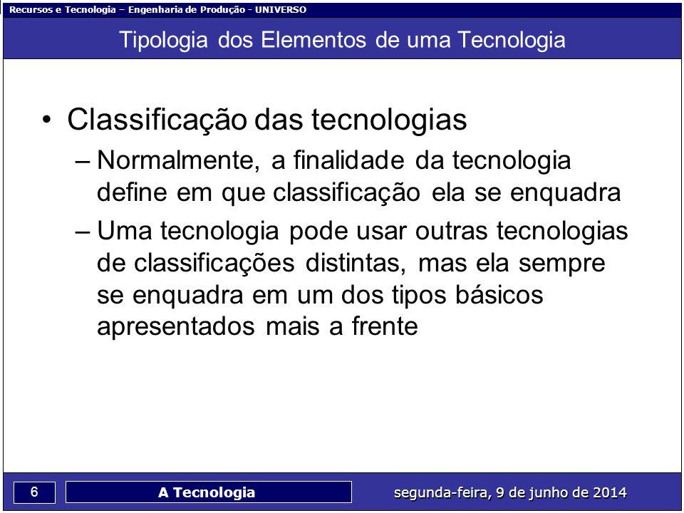 Recursos e Tecnologia – Engenharia de Produção - UNIVERSO 6 segunda-feira, 9 de junho de 2014 A Tecnologia Tipologia dos Elementos de uma Tecnologia C