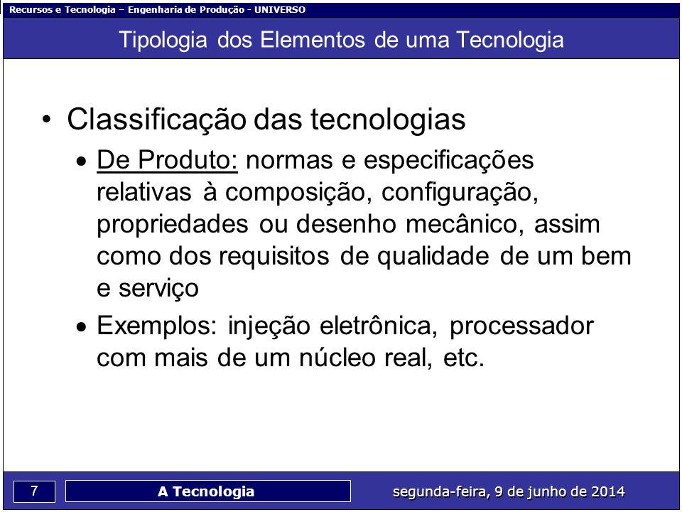 Recursos e Tecnologia – Engenharia de Produção - UNIVERSO 7 segunda-feira, 9 de junho de 2014 A Tecnologia Tipologia dos Elementos de uma Tecnologia C