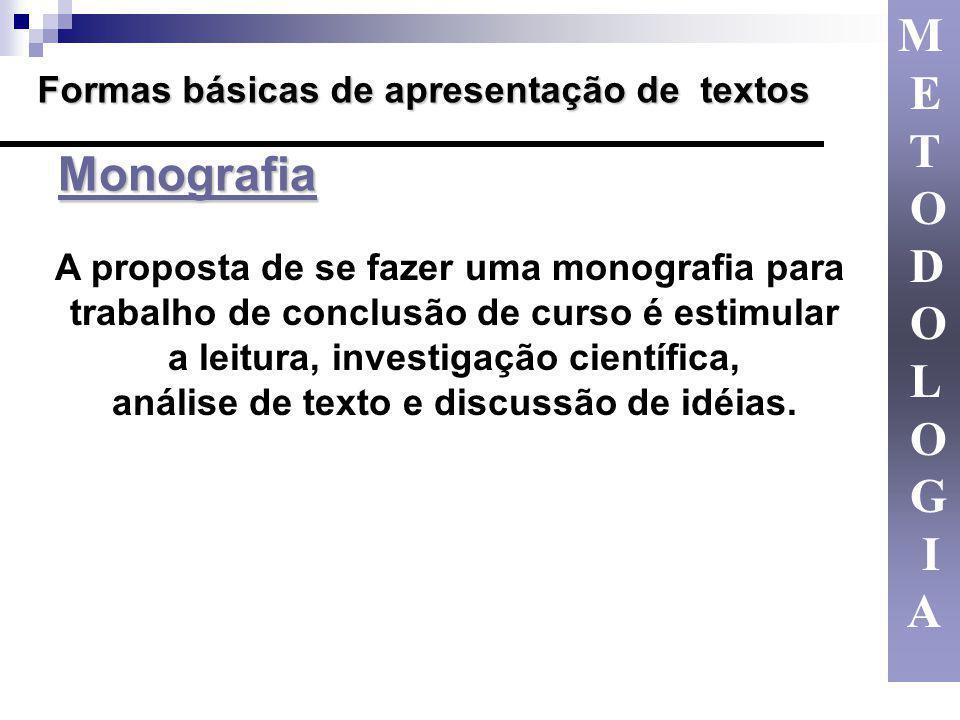 Formas básicas de apresentação de textos A proposta de se fazer uma monografia para trabalho de conclusão de curso é estimular a leitura, investigação