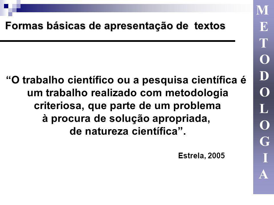 Formas básicas de apresentação de textos O trabalho científico ou a pesquisa científica é um trabalho realizado com metodologia criteriosa, que parte