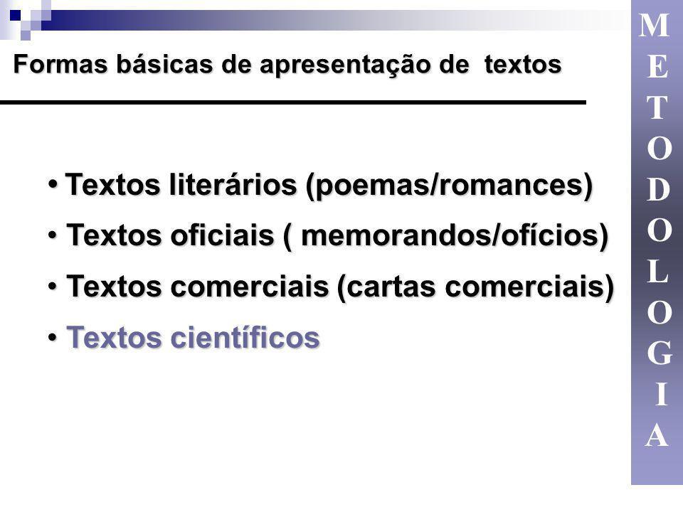 Textos literários (poemas/romances) Textos literários (poemas/romances) Textos oficiais ( memorandos/ofícios) Textos oficiais ( memorandos/ofícios) Te