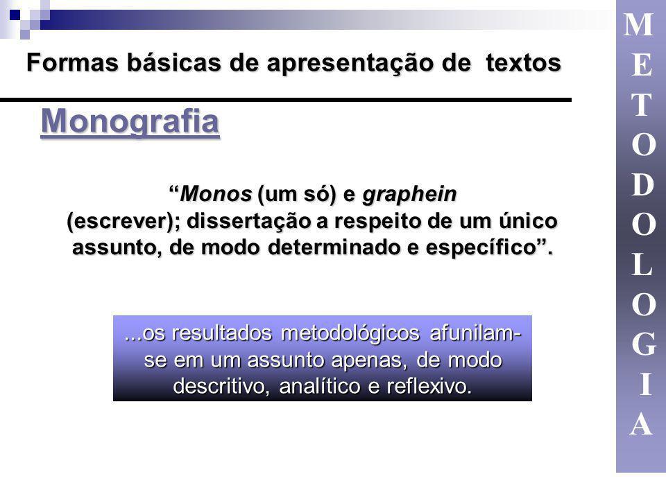 Monografia Monografia Formas básicas de apresentação de textos Monos (um só) e grapheinMonos (um só) e graphein (escrever); dissertação a respeito de